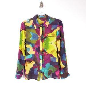 Alice + Olivia Silk Blend Abstract Print Blouse